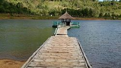 Floating walkway and cottage at ban ban lake