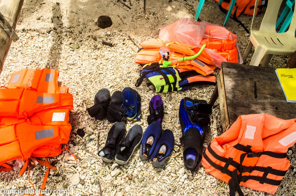 Snorkeling equipment are available for rent at php 100.00 each