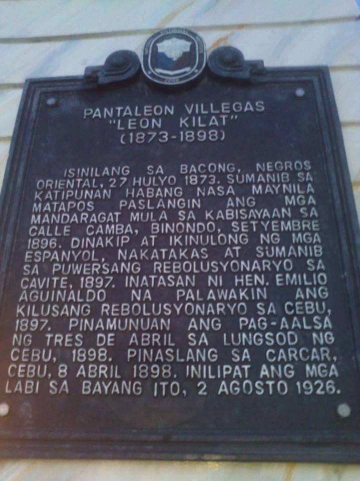 Monument placard in Bacong